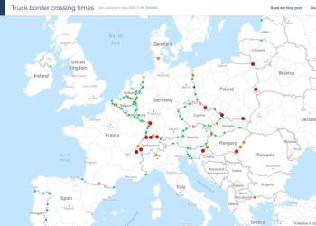В Інтернеті з'явилася карта часу очікування вантажівок на кордонах ЄС
